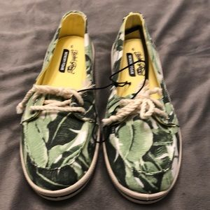 Faded Glory Green Print Slip On Deck Shoes 9M